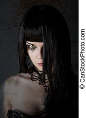 Young witch with yellow eyes and black long hair, textured...