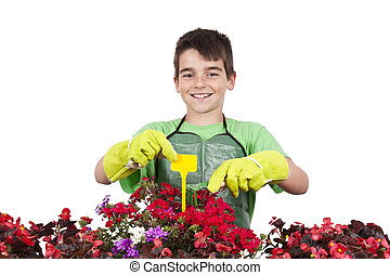young with flowers, gardening and garden plants