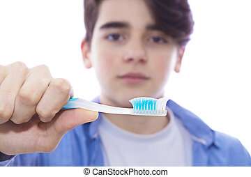 young with toothbrush and braces, health and mouth care