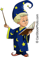 Young wizard - The young wizard on a white background, ...