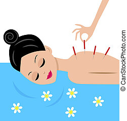 young woman accept procedure acupuncture, vector illustration