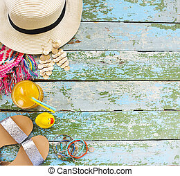 Young woman accessories for summer vacation