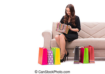 Young woman after christmas shopping