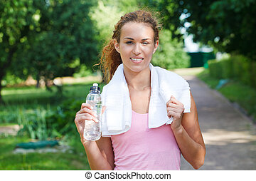 Young woman after sport workout