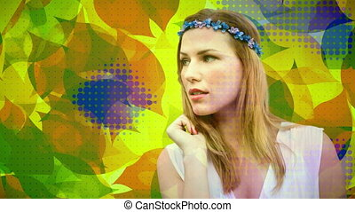 Young woman against colorful leaves background 4k