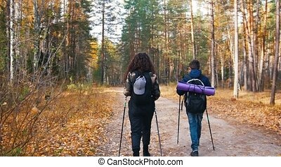 Young woman and a boy on scandinavian walk. Back view -...