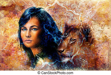 Young woman and lion cub. Woman Portrait with long dark hair...