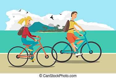 Young woman and man ride the bike on the beach. Healthy ...