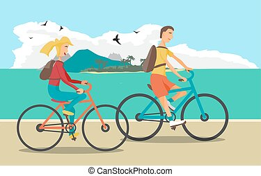 Young woman and man ride the bike on the beach. Healthy leisure and freedom riding bike. Woman and man with backpacks pedaling on summer time. Sea shore in summer time. Flat vector color illustration