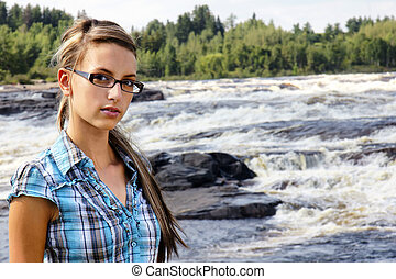 Young woman and white waters