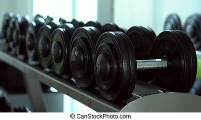 young woman approaches a dumbbell and takes them to the gym,...
