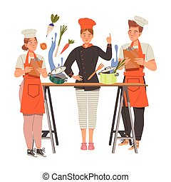 Young Woman as Chef Master Training Newcomer Preparing Food at Restaurant Kitchen Vector Illustration. Female Professional Cook in Toque and Black Jacket Cooking Delicious Food of Haute Cuisine Concept