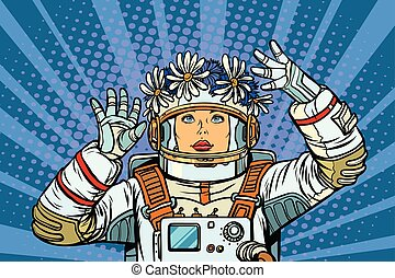 young woman astronaut in a wreath