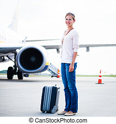 Young woman at an airport