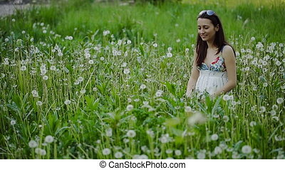 Young Woman At Dandelion Meadow