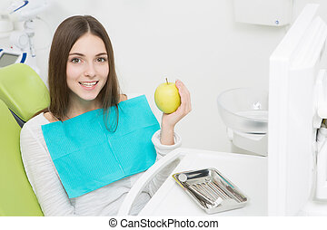 Young woman at dentist's office