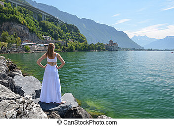 Young woman at Geneva lake, Switzerland