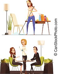 Young Woman At Home And In Coffee House