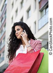 Young woman at shopping