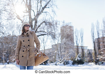 Young woman at the winter