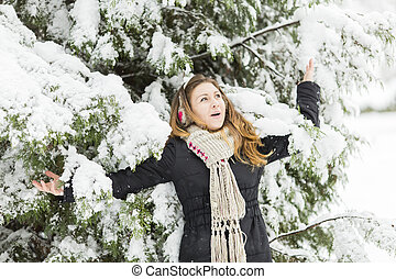 Young woman at winter time