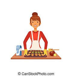Young woman baking cookies, housewife girl cooking food in the kitchen flat vector Illustration
