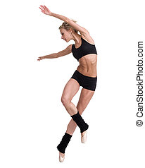 young woman ballerina ballet dancer dancing on white background