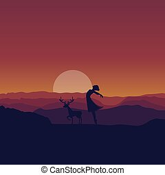 young woman ballerina ballet dancing silhouette in sunset wildlife background