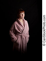 young woman bathrobe