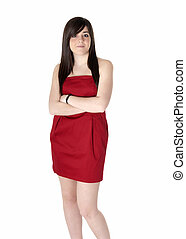 Young woman beautiful with red dress isolated on white.