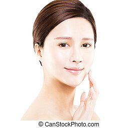 young Woman beauty face portrait isolated on white