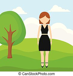 young woman beauty in landscape nature