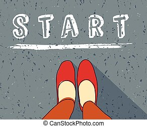 Young woman begin way start line new life - Woman standing...