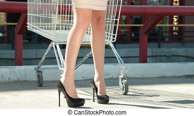 Young Woman Behind an Empty Shopping Cart
