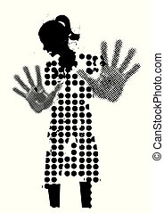 Young woman black silhouette, victim of violence.
