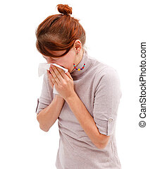 Young allergic woman sneeze or blowing her nose