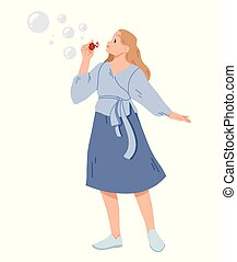 Young woman blowing soap bubbles Vector illustration.
