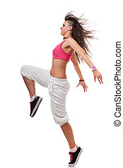 young woman breakdancer in leaping pose