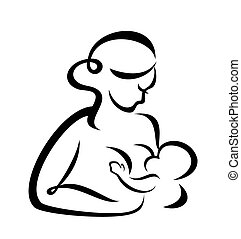 breastfeeding - young woman breastfeeding her baby vector...