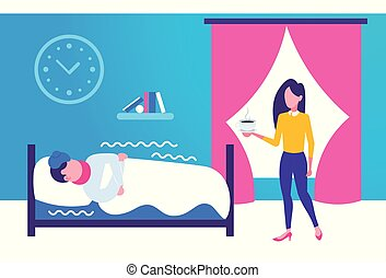 young woman bringing hot drink to her sick husband lying covered with blanket in bed at home bedroom interior ill man having flu virus illness concept horizontal