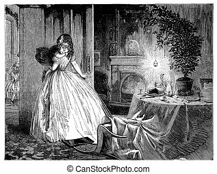 Young woman brings sleeping little girl to bed , after a Christmas party in the parlor