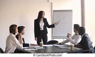 Young woman business leader manager coach give flip chart presentation