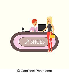 Young woman buying shoes in a shoe store, girl shopping in a mall colorful vector illustration