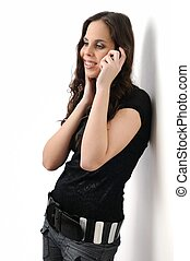 Young woman calling with cellphone on white