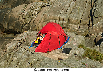 Young Woman Camping