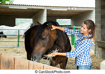 Young woman caring for horses
