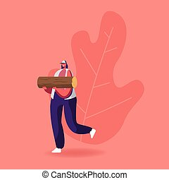 Young Woman Carry Wood for Chopping and Brewing Moonshine. Female Character with Log, Girl Holding Timber Spend Time Outdoors on Nature. Camping, Active Lifestyle. Cartoon People Vector Illustration