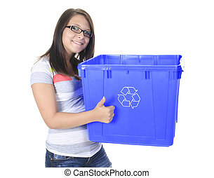 Young woman carrying a plastic container full with empty recycla