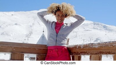 Young woman celebrating the winter season