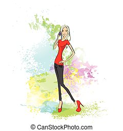 young woman cell phone call over abstract paint colorful splash background